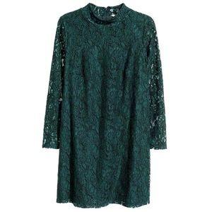 {h&m} dark green lace dress